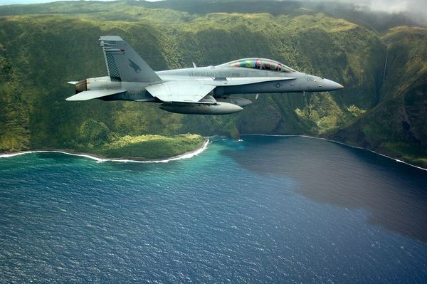 F/A-18D along the coast of Molokai, Hawaii