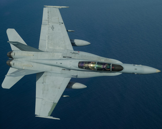 An F/A-18D from VMFA(AW)-533 poses for the camera off of Okinawa, Japan.