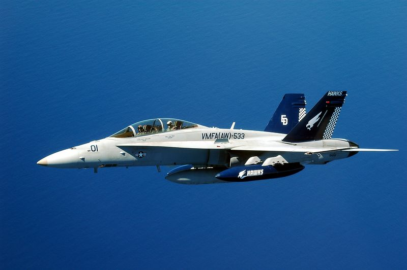 An F/A-18D Hornet from VMFA(AW)-533 off the coast of Okinawa in late 2004