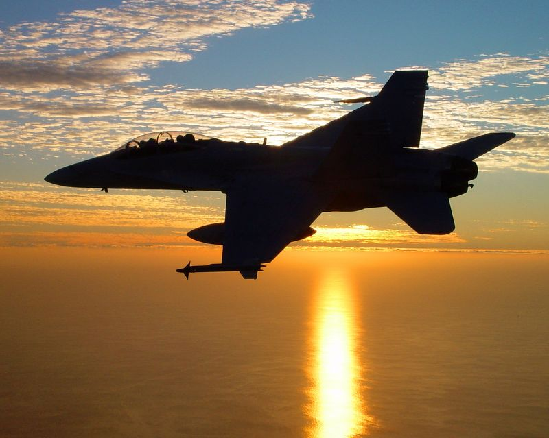 F/A-18D over the Gulf of Mexico at Sunset.