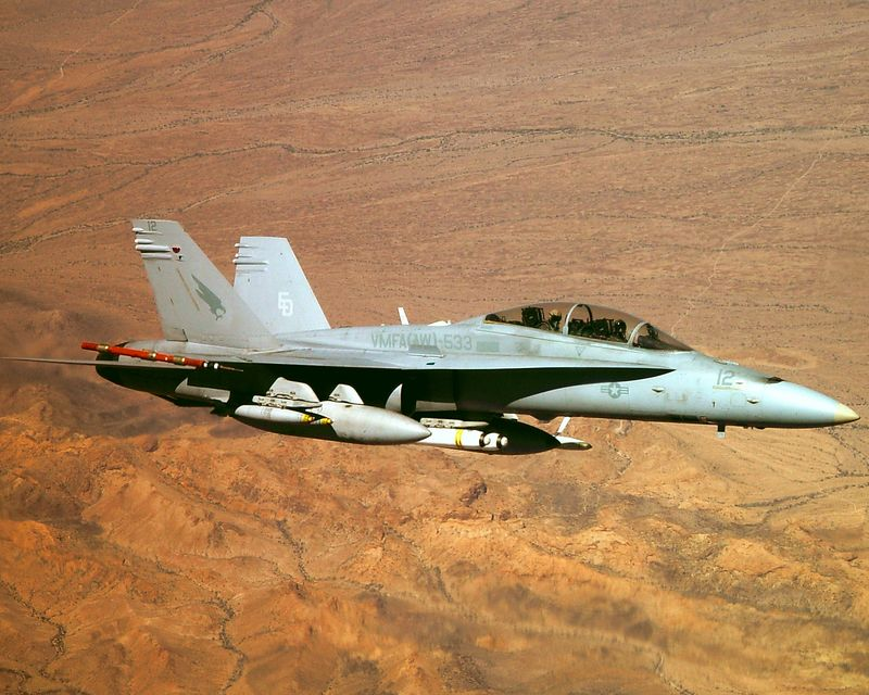 F/A-18D from VMFA(AW)-533 over the Arizona desert near Yuma, during WTI 2-04
