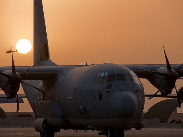 US Marine Corps KC-130J Hercules awaits an early morning mission on the ramp at Kandahar airbase, Afghanistan