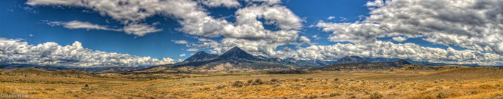 High desert just south of Hotchkiss CO. Should be Landsend Peak and Mt Lamborn