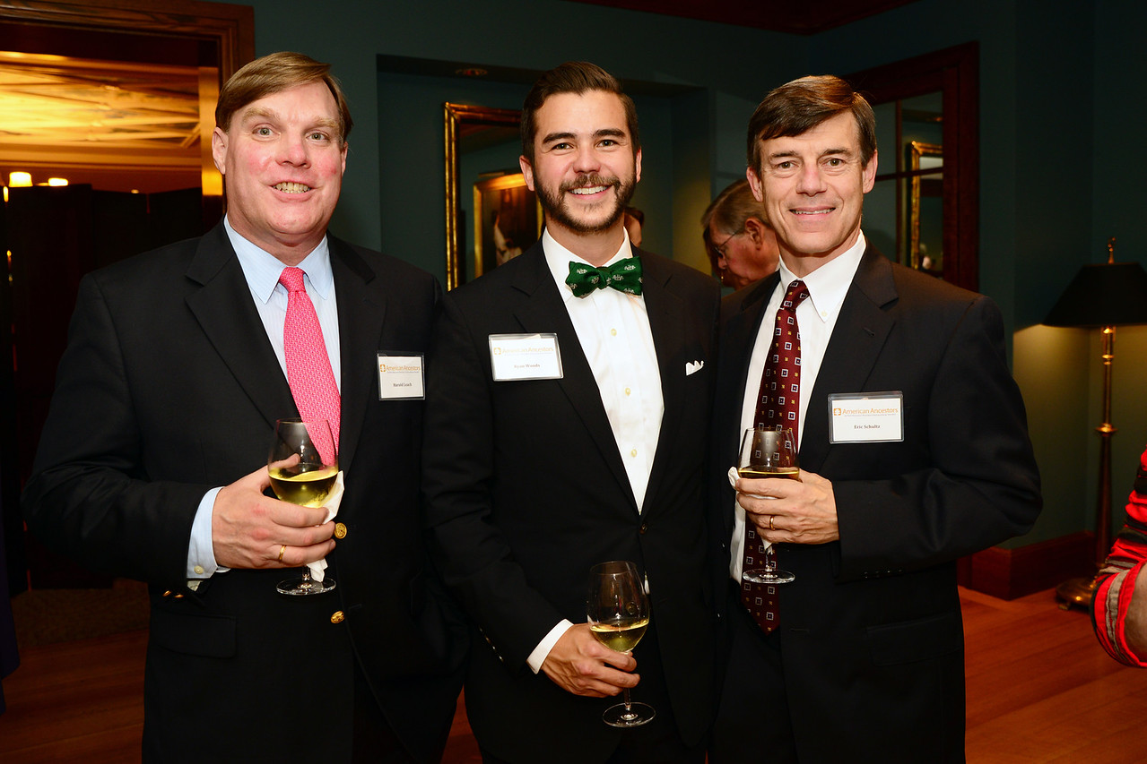Trustee Harold Hunter Leach, NEHGS Vice President and Chief Operating Officer Ryan J. Woods, and former NEHGS Chairman of the Board Eric B. Schultz.