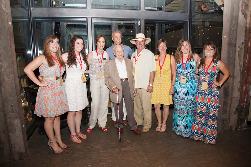 (Photo by Jason Tinacci for Napa Valley Vintners)<br /> Caption: The late Peter Mondavi Sr. poses with members of his family at the newly renovated Charles Krug winery in 2014.