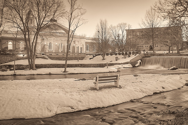 Milford City Hall and Duck Pond Sepia