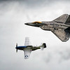The Heritage Flight. F22 Raptor and Mustang Miss Helen .