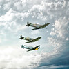 Spitfires and a Buchon happily flying together. By David Stoddart
