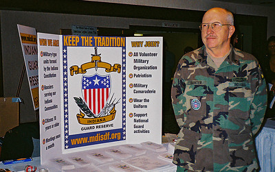 Indiana Guard Reserve recruitment booth at Department Conference.