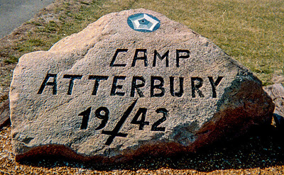 This rock was carved by a POW interned at Camp Atterbury during WWII and still sits along side Hospital Road at the east entrance to the area.