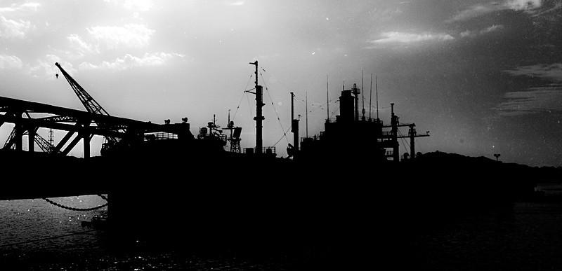 backlit barge