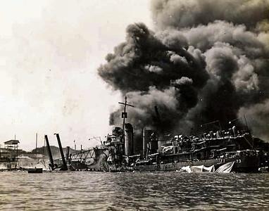 Battle Ship Row ablaze