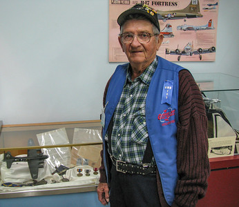 """Museum volunteer Roland Douglas is a WWII US Army Air Corps turret gunner in a B17 """"Flying Fortress"""" which was shot down over Germany. Roland was captured and spent time in a POW camp. If you are fortunate to get to the museum and meet with Roland consider yourself among lucky few."""