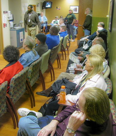 If you ever wondered what your in store for under Obama's  going-public health care programs, this should give you some insight. This is a packed waiting room at a VA Hospital blood lab. People are so backed up in lines they overflow into the hallways.