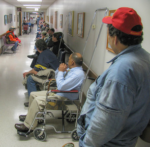 Hallway overflow at an outpatient lab at a VA Hospital. If this is how a nation treats those who have sacrificed to safeguard her how do you think your future is looking with public health plans spewing forth from our O'BamiNation HQ's.