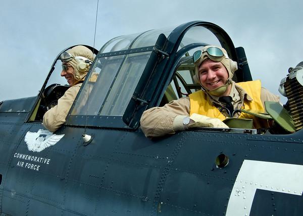 Re-enactors aboard Dauntless Dive Bomber at 2009 World War II weekend at Mid-Atlantic Air Museum in Reading, Pennsylvania