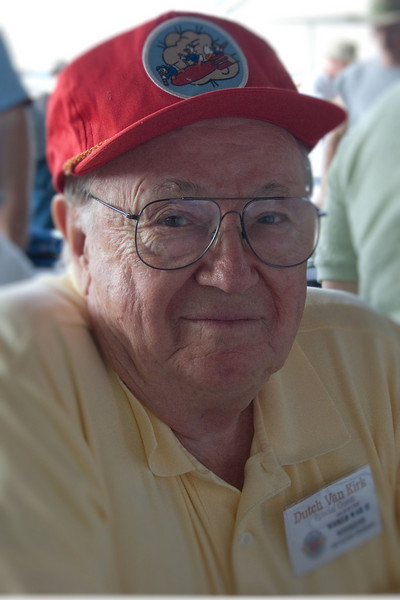 """Enola Gay navigator Theodore """"Dutch"""" Van Kirk at the 2008 World War II weekend at the Mid-Atlantic Air Museum in Reading, Pennsylvania.  His B-29, piloted by Paul Tibbets, dropped the Little Boy atom bomb on Hiroshima, Japan, on August 6th, 1945."""