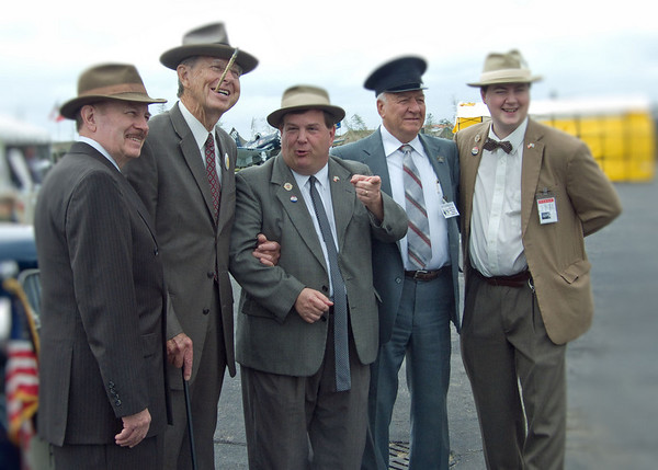 Re-enactments are part of the 2009 World War II weekend at Reading Airport in Pennsylvania.  Here are Bill Riley and Joe Zieglar as Abbott & Costello.  With them are doubles for FDR, the president's driver and a reporter.