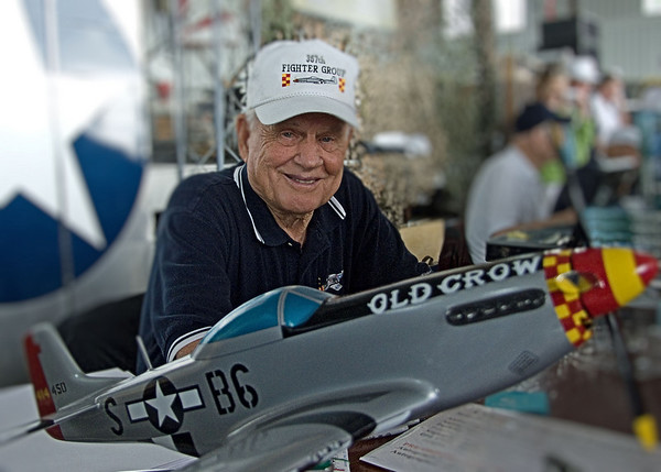 """World War II Mustang pilot Clarence """"Bud"""" Anderson at 2009 Reading Air Show.  He was a triple ace and flew """"Old Crow"""" while with the 357th Fighter Group of the 8th Air Force in England.  Anderson was the leading ace of the 363rd Fighter Squadron, with 16 1/4 victories.  He was 87 years old when this picture was taken."""