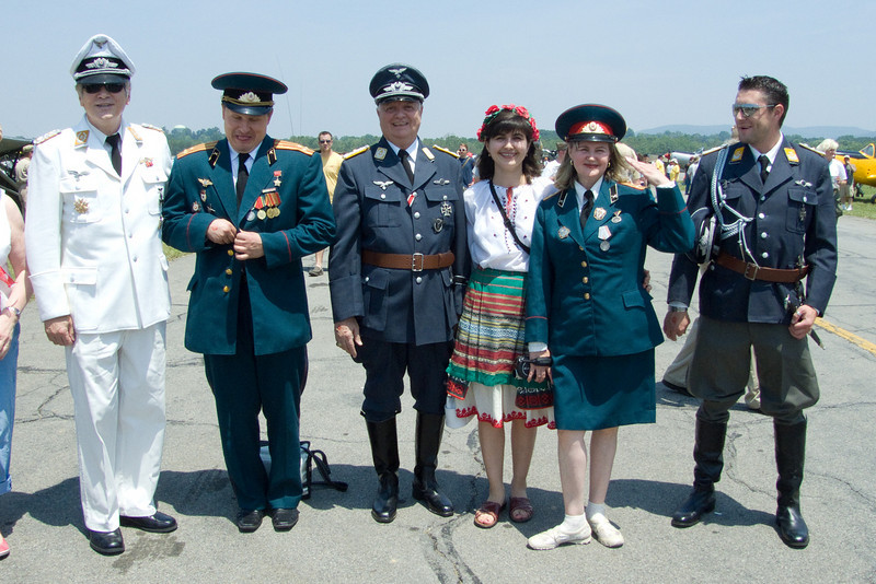 Fraternizing: re-enactors as German Luftwaffe and Russian army officers and a peasant, at the 2008 Reading Air Show in Pennsylvania.
