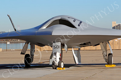 X-47BUSN 00002 Frontal view of a Northrop-Grumman US Navy unmanned carrier based attack aircraft indicative of naval aviation's future, by Peter J Mancus
