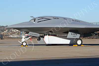X-47BUSN 00004 Tight crop of a Northrop-Grumman US Navy unmanned X-47B carrier based attack aircraft mock-up, by Peter J Mancus