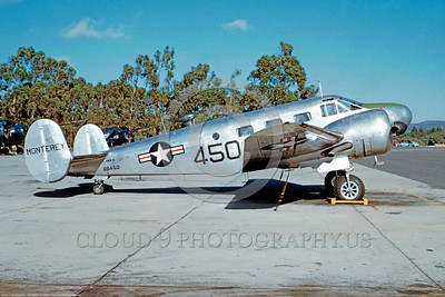 C-45USN 003 A static bare metal finish Beech JRB4 Expeditor US Navy 66450, %22MONTEREY%22, at Monterey, CA, military airplane picture by William T Larkins    Dt