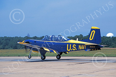 T-34USN 00009 A landing Beech T-34C Mentor USN 160943 NAS Oceana 10-1982 military airplane picture by Michael Grove, Sr
