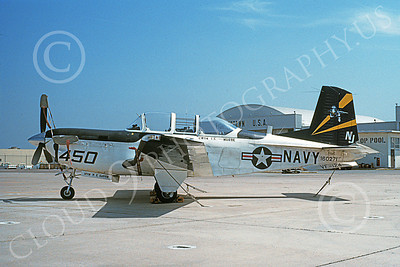 T-34USN 00005 A static Beech T-34C Mentor USN 160271 VF-124 GUNFIGHTERS NAS Miramar 5-1988 military airplane picture by Michael Grove, Sr