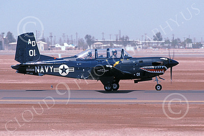 T-34USN 00011 A taxing shark mouth Beech T-34C Mentor USN 160509 VF-101 GRIM REAPERS NAF El Centro 4-2002 military airplane picture by Michael Grove, Sr