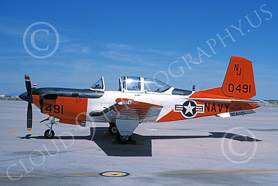 T-34USN 00003 A static Beech T-34C Mentor USN 160491 NAS Lemoore VFA-125 ROUGH RAIDERS 7-1994 military airplane picture by Michael Grove, Sr