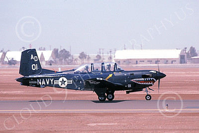 T-34USN 00007 A taxing shark mouth Beech T-34C Mentor USN 160509 VF-101 GRIM REAPERS AD code NAF El Centro 4-2002 military airplane picture by Michael Grove, Sr