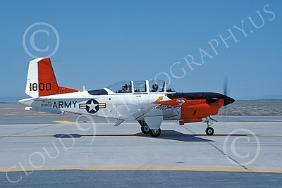 T-34USA 00001 A taxing Beech T-34C Mentor US Army 161800 Edwards AFB 4-1988 military airplane picture by Carl E Porter