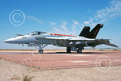 Boeing F-18E-USN 00111 A static Boeing F-18E Super Hornet USN VFA-14 TOPHATTERS NAS Fallon 5-2002 military airplane picture by Michael Grove, Sr