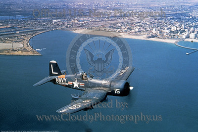 F4U-USN 0008 A flying Chance Vought F4U Corsair, USN WWII and Korean War carrier based fighter, Los Alamitos, USN photo via Tailhook Assoc  Col  produced by www cloud9photography us     DONEwt
