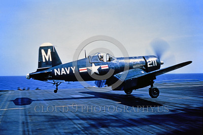 F4U-USN 0001 A dark blue Chance Vought F4U Corsair USN WWII era fighter shown taking off from an aircraft carrier circa mid-1940's USN photo via Tailhook Col  produced by Cloud 9 Photography     DONEwt
