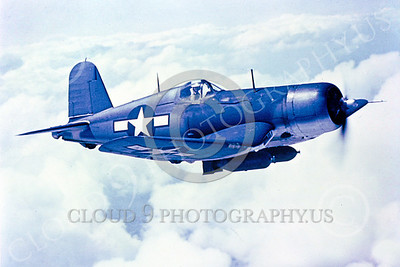 F4U 00004 An in-flight photo of a US Navy Chance Vought F4U Corsair WWII era fighter, military airplalne picture, Official US Navy Photograph