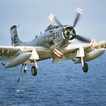 A-1-USN-Generic 0018 A Douglas A-1 Skyraider USN Cold War era attack aircraft landing on an aircraft carrier, official USN picture via Tailhook Col  produced by Cloud 9 Photography     DONEw ...