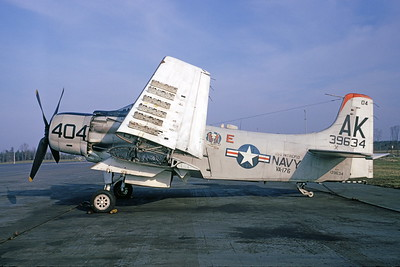 A-1USN-VA-176 0001 A static Douglas A-1H Skyraider USN 139634 VA-176 THUNDERBOLTS AK code USS Intrepid 4-1966 military airplane picture by Clay Janson