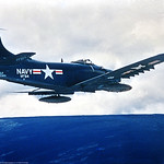A-1USN-VF-54 0002 A flying dark blue Douglas A-1 Skyraider USN attack aircraft VF-54 HELL'S ANGELS circa 1950's USN photograph via Tailhook Col  produced by Cloud 9 Photography     DONEwt