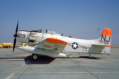 A-1USN-VA-122 0003 A static Douglas AD-6 Skyraider USN 139706 VA-122 FLYING EAGLES NJ code NAS Lemoore 9-1962 military airplane picture by Doug Olson