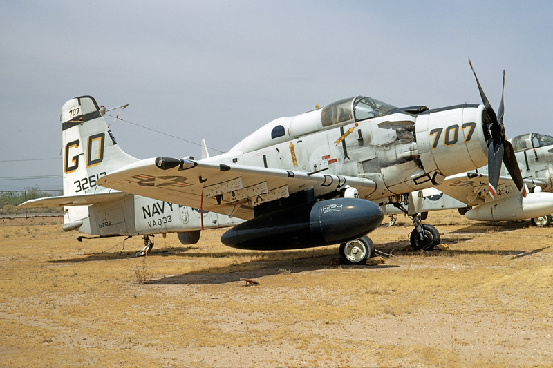 A-1USN-VAQ-33 0007 A static Douglas EA-1F Skyraider USN 132613 VAQ-33 FIREBIRDS GD code D-M AFB 6-1970 military airplane picture by Peter B Lewis