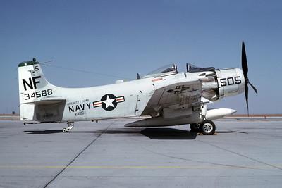 A-1USN-VA-115 0001 A static Douglas A-1 Skyraider USN 134588 VA-115 ARABS NF code USS Kitty Hawk NAS Lemoore 10-1966 military airplane picture by Duane A Kasulka