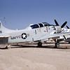 A-1USN-VAQ-33 0005 A static Douglas A-1E Skyraider USN 135188 VAQ-33 FIREBIRDS GD code D-M AFB 6-1970 military airplane picture by Clay Janson