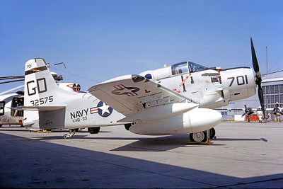 A-1USN-VAQ-33 00001 A static Douglas EA-1F Skyraider USN 132575 VAQ-33 FIREBIRDS GD code NAS Qunset Pt 6-1968 military airplane picture by Thomas S Cuddy copy