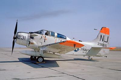 A-1USN-VA-122 0005 A static Douglas AD-5 Skyraider USN 133865 VA-122 FLYING EAGLES NJ code NAS Lemoore 9-1962 military airplane picture by Doug Olson