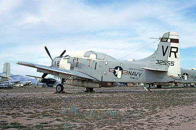 A-1USN-VAW-113 0003 A static Douglas EA-1F Skyraider USN 132555 VAW-13 ZAPPERS VR code USS Kitty Hawk D-M AFB 4-1969 military airplane picture by Peter B Lewis