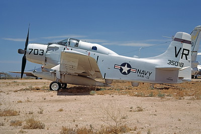 A-1USN-VAW-13 0001 A static Douglas EA-1F Skyraider USN 135018 VAW-13 ZAPPERS VR code D-M AFB 6-1973 military airplane picture by Robert L Lawson