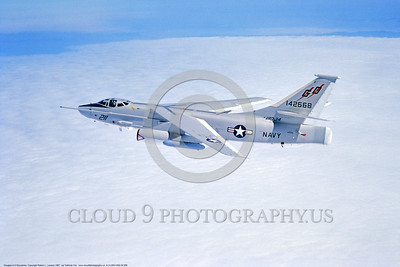 A-3-USN-VAQ-34 006 A flying Douglas RA-3B Skywarrior USN 142668 VAQ-34 FLASHBACKS modified Cold War era carrier based bomber, electronic warfare aircraft, 1987, by Robert L  Lawson, via Tailhook Col , produced by www cloud9photography us     DONEwt
