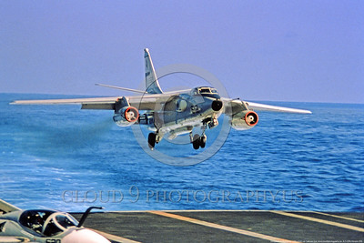 A-3-USN-Generic 008 A Douglas EKA-3 Skywarrior USN modified Cold War era carrier based bomber lands on a US aircraft carrier, USN photo via Tailhook Col, produced by www cloud9photography us     DONEwt